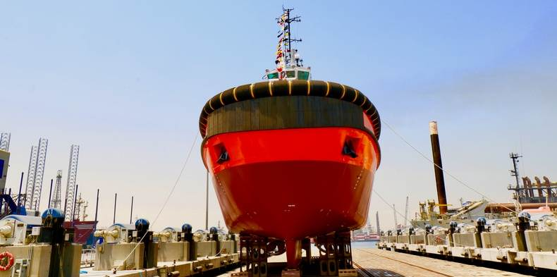 The tug will join the RAK Ports tug fleet and operate in the new and impressive deep-water bulk terminal