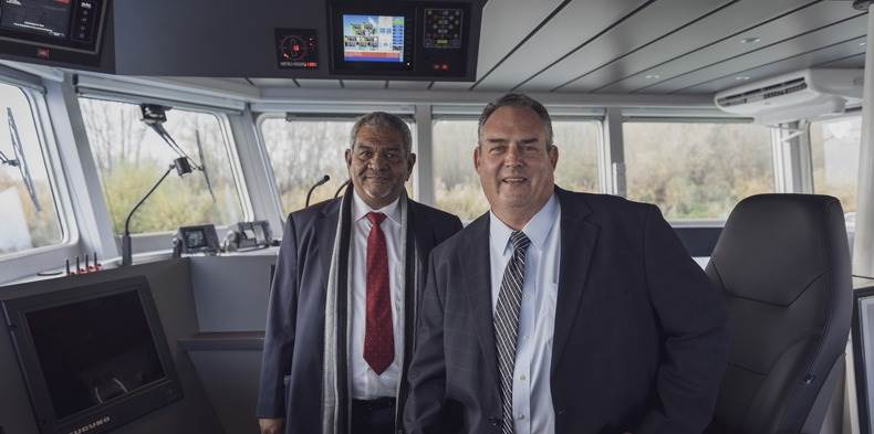 The delivery ceremony of the Shoalbuster 2509 at Damen Shipyards Gorinchem was attended by MSMC Chairman Mr Abdullah Natheer and General Manager Chris Clark