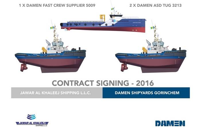 Damen Shipyards Group signed a contract for one Fast Crew Supplier (FCS) 5009 and two ASD Tugs 3213