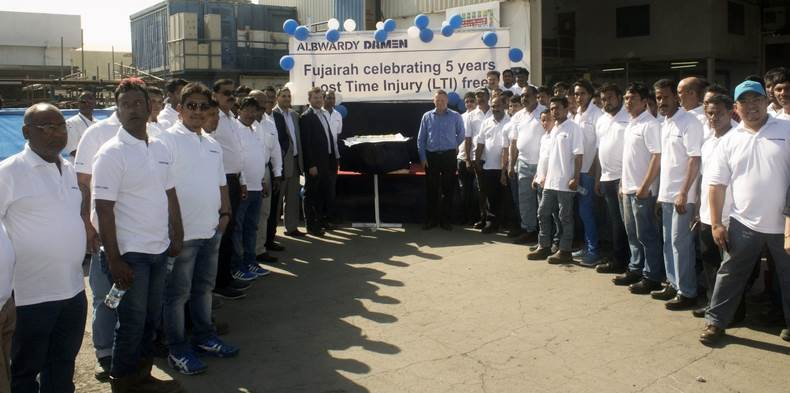On 28th December 2016, the Fujairah yard of Albwardy Damen celebrated 5 years without a single lost time incident (LTI)